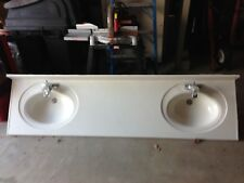"84"" wide white double sink bath room counter top"