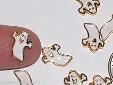 2pc Miniature tiny Golden Little floating Halloween Ghost casper bead findings *