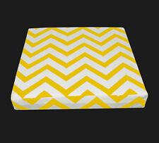 le05t Yellow on Beige Zig Zag Cotton Canvas 3D Box Seat Cushion CoverCustom Siz