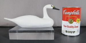 "Unsigned Miniature Swan Duck Decoy Tack Eyes 8"" Long yqz"