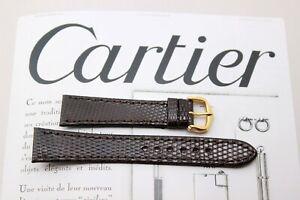 CARTIER TANK (Le Must) DARK BROWN LIZARD STRAP 18mm-BUCKLE-NEW (Santos Panthere)