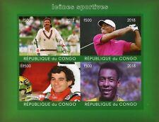 Congo 2018 MNH Ayrton Senna Ian Botham 4v IMPF M/S Cricket Golf Football Stamps