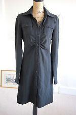 Patrizia Pepe Black Dress Button-Up Medium 12 Firenze Long Sleeves Collar