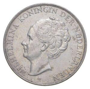 SILVER Roughly Quarter Size 1938 Netherlands 2 1/2 Gulden World Silver Coin *876