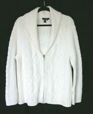 Womens CHAPS Sz 3X 100% COTTON White Cable Knit SWEATER Jacket ZIP Front MINT