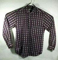 Vintage Mens Members only Medium long sleeve shirt Purple Gray Plaid Retro