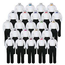 Boys Kid Teen Wedding Formal 3pc Set Shirt Black Pants Bow Tie Suit Uniform 5-14