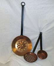 Vtg Mid Century Country Farm Kitchen Copper Metal Strainer, Laddle Skillet Decor