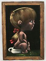 Black Velvet Painting child girl on potty carved wood frame Mexico signed