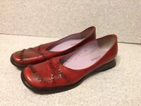 Audley London Women's Wedge Loafers Size 38.5 Red Leather Made In Spain