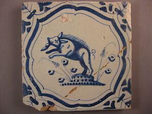 Antique Dutch animal pig tile rare 17th century --> free shipping <--