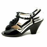 Naturalizer Black Patent Slingback Heels UK 7 EU 41 Open Toe Shoes