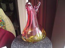 BELLISSIMO vintage Murano? ARTE ITALIANA VASO di Cristallo, Mirtillo Rosso/Giallo, in buonissima condizione.