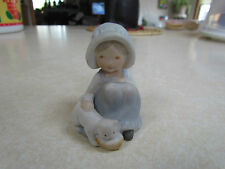 Vintage 1970's Holly Hobbie Porcelain Mini Figurine:  Feeding Her Cat