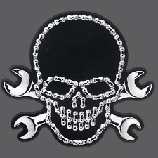 SKULL BIKE CHAIN WRENCH EMBROIDERED BIKER PATCH