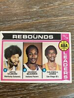 1974 Topps Basketball ABA Rebound Leaders #211 Gilmore HOF, McGinnis HOF, Jones.