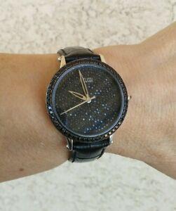 Ecclissi 5.30 ct tw Black Spinel Sterling Case 36mm Leather Strap Watch New Batt