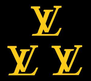 "3 Louis Vuitton Gold Logos 2"" Inch Heat Transfer Vinyl HTV FREE SHIPPING!"