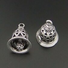 **04092 Antique style silver Tone Alloy Look Bell Charm pendant Finding 3pcs