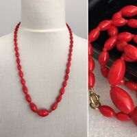 Vintage Necklace Red Glass Beads Graduated Hand Knotted Retro 80s Power Dressing