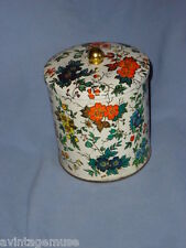 WHITE FLORAL FESTIVE VTG COOKIE BISCUIT TIN CANNISTER DAHER LONG ISLAND ENGLAND