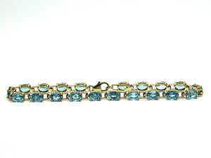 Oval Topaz Bleu 10.00ct. Yellow Gold 9ct 375 Bracelet Size 7,48 inches.or 19cm