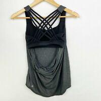 Lululemon Size 6 Wild Tank Top Shirt Heathered Black Open Back Strappy