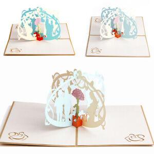3D Pop Up Greeting Cards Kraft Handmade Postcard Mother's Day Gift