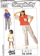 Simplicity Girl's Pants Shorts & Top Pattern 9175 Sizes 7-14 Surf Club New Uncut