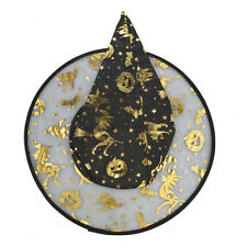 Lux Accessories Black and Gold Tone Pumpkin Halloween Printed Mesh Witch Hat
