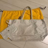 GOYARD SAINT LOUIS PM Hand Tote Shoulder Bag White PVC Leather Used