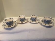 A Set of Four Mason's Fruit Basket Multi Colored Blue Cups and Saucers