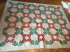 Antique Quilt With Red, Green, and White Leaf and Berries Appliqué