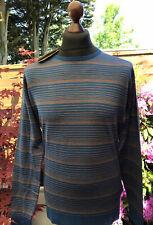 Mens - John Smedley - Pullover - Jumper - Blue / Mustard Striped - Large