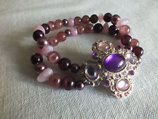 Beautiful Stretch Bracelet Silver Tone Pinks Plums Rhinestones Cabochons Beads