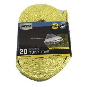 Reese Super Duty 20' Reflective Tow Strap 5660 lb Load Wt Heavy Duty Webbing NEW