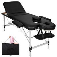 Lettino Massaggio Portatile Leggero.Lettino Massaggi Alluminio Pieghevole 3 Zone Fisioterapia Spa Nero