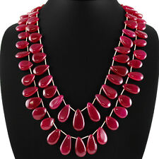 TOP 652.40 CTS EARTH MINED 2 STRAND RICH RED RUBY PEAR SHAPED BEADS NECKLACE