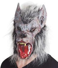 Masque de loup-garou méchant avec poils et cheveux gris accessoires deguisement