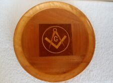 Vintage Marquetry Inlaid Wood Fraternal Masonic Symbol Wall Plaque Hanging Tray
