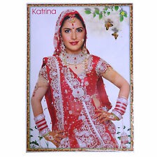 Poster Katrina Kaif rot weißer Sari 75 x 50 cm Bollywood Star Schauspielerin