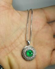 3.8ct Colombian Emerald and 1.1ct Diamond Choker 18k White Gold Necklace Pendant