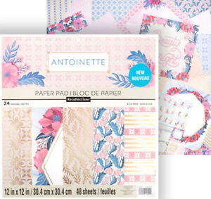 """Recollections ANTINETTE 12x12"""" Paper Pad 48 Sheets Scrapbook Floral Pink Gold"""