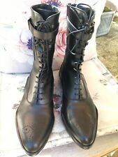 PRADA Combat Black Leather Ankle Boots, UK 6 US 9 EU 39 Immaculate