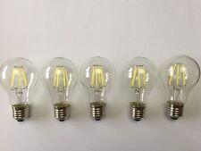 5 Pack de LED Lámpara de filamento de alta potencia E27 8W A60 6000K salida de luz del día