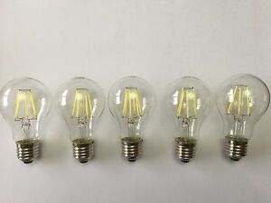 5 PACK OF LED E27 HIGH POWER FILAMENT LAMP 8W A60 6000K DAYLIGHT OUTPUT