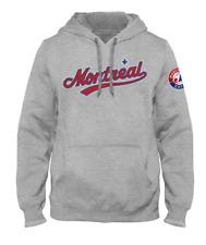 Mens Montreal Expos Road Express City Word Mark Heather Grey Hoodie MLB Baseball