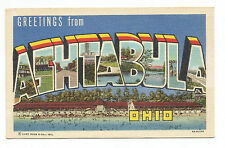 Greetings Ashtabula OH Ohio LARGE LETTER Linen Postcard 1930s 1940s