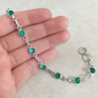 NATURAL ROUND TEAL TOURMALINE 925 STERLING SILVER LINK CHAIN BRACELET 7.5""