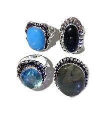 Wholesale Lot 4Pcs. Labradorite & Quartz Stone .925 Sterling Silver Plated Ring